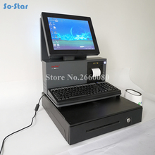 Dual LCD Screen Cash Register with 58mm Receipt Printer & Drawer POS Terminal Machine All in One, One Touch Panel