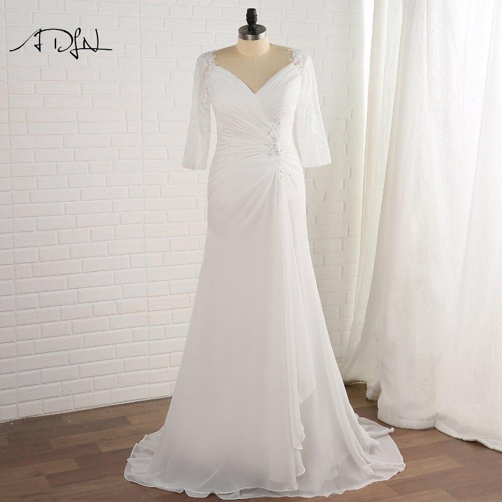 ADLN 2019 Plus izmēra kāzu kleita ar piedurknēm Vestido De Novia Robe De Mariage V-kakla šifona apvalka līgavas kleitas