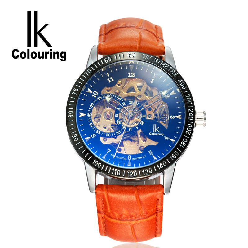 IK Colouring Brand Fashion Sport Hollow Skeleton Black Brown Genuine Leather Automatic Self-Wind Mechanical Watche k colouring women ladies automatic self wind watch hollow skeleton mechanical wristwatch for gift box