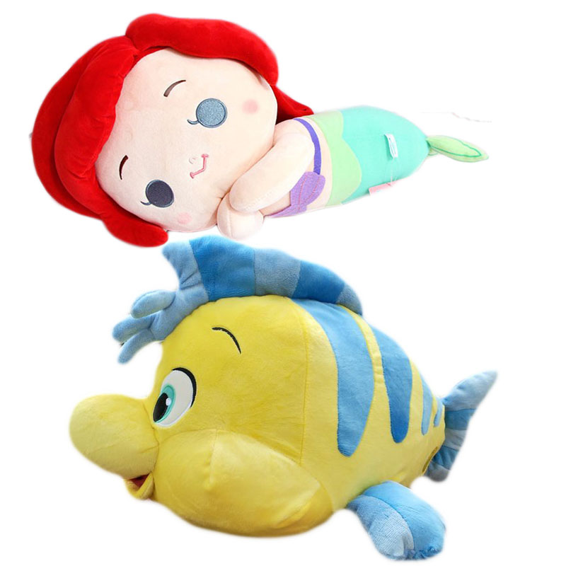 The Little Mermaid Ariel Sleeping Princess Plush Dolls Flounder Fish Soft Doll Kids Stuffed Toys For Children Gifts the little mermaid ariel princess dress cosplay adult ariel mermaid costume women mermaid princess ariel green dress cosplay