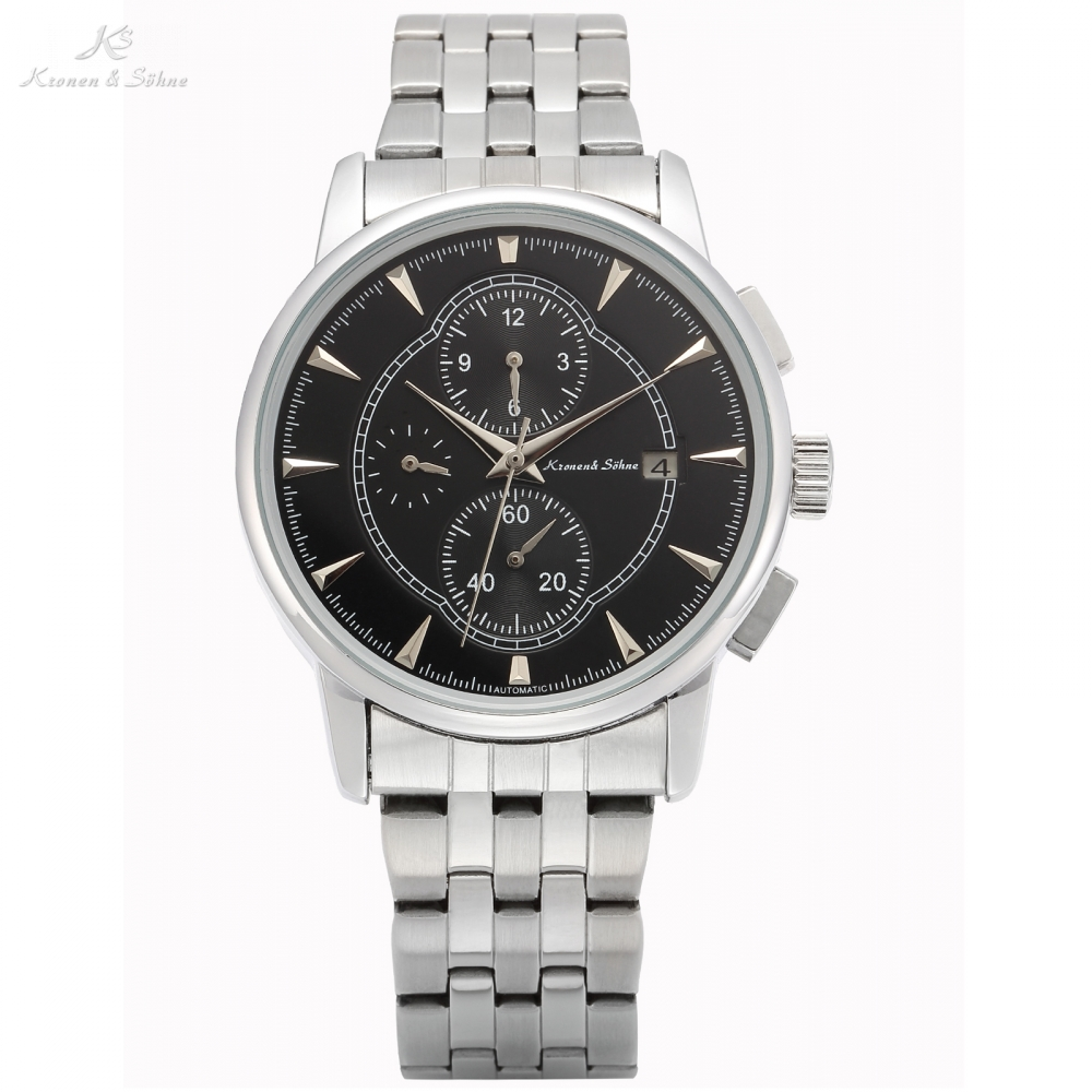 KS Automatic Watch Black Men Mechanical Watches Date Month Display Metal Strap Transparent Montre Homme Clock Wristwatch / KS286 jaragr fashion square dial men s day month automatic mechanical watch reloj male wristwatch montre homme