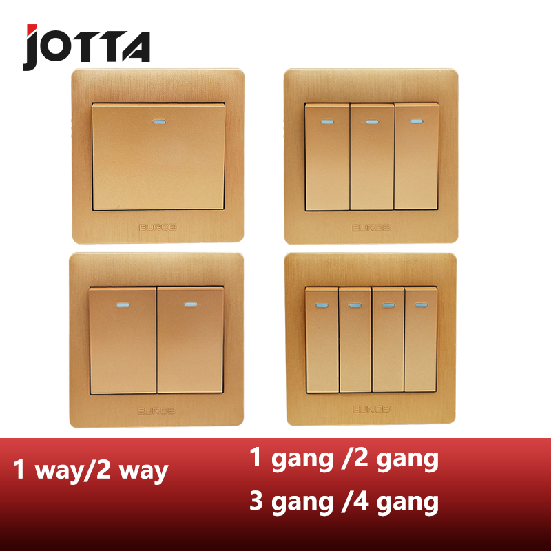 Golden Panel Wall <font><b>Switch</b></font> Rocker <font><b>Switch</b></font> New Style 1 Way/2Way 1 <font><b>gang</b></font>/2 <font><b>gang</b></font>/3 <font><b>gang</b></font>/<font><b>4</b></font> <font><b>gang</b></font> 250V 10A image