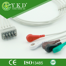 GE Dash 1000 five lead ECG cable and leadwires,AHA snap ending