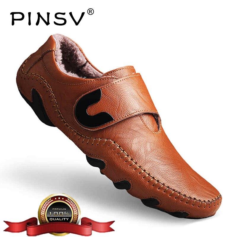 2b5c327ee Размеры 38-46, зимняя обувь, мужские лоферы, кожаная обувь без шнуровки,