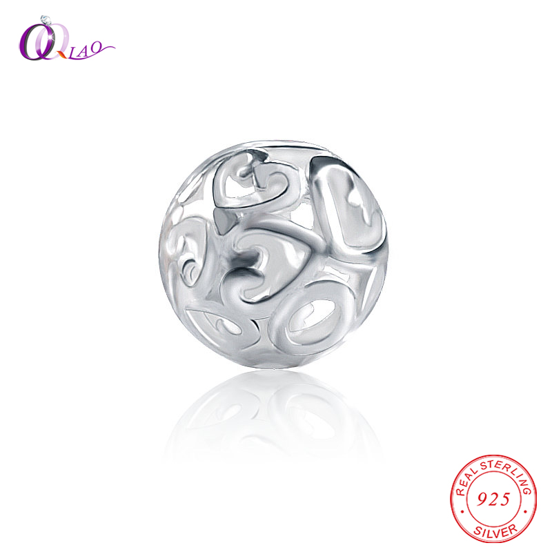 1PCS 925 Sterling Silver Beads Heart Pattern Round Soild Silver Beads Exquisite Loose Spacer Silver Beads For Bracelet Making