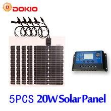 DOKIO Brand 5PCS 20W 18V Flexible Solar Panel China 10A 12V 24V Controller 100W Flexible Solar