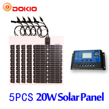 DOKIO Brand 5PCS 20W 18V Flexible Solar Panel China + 10A 12V/24V Controller 100W Flexible Solar Panels Boat Battery Charger