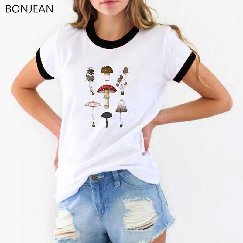 Summer 2019 Women tshirt vintage t shirt mushrooms design kawaii top tumblr clothes graphic tee shirt femme plus size tops