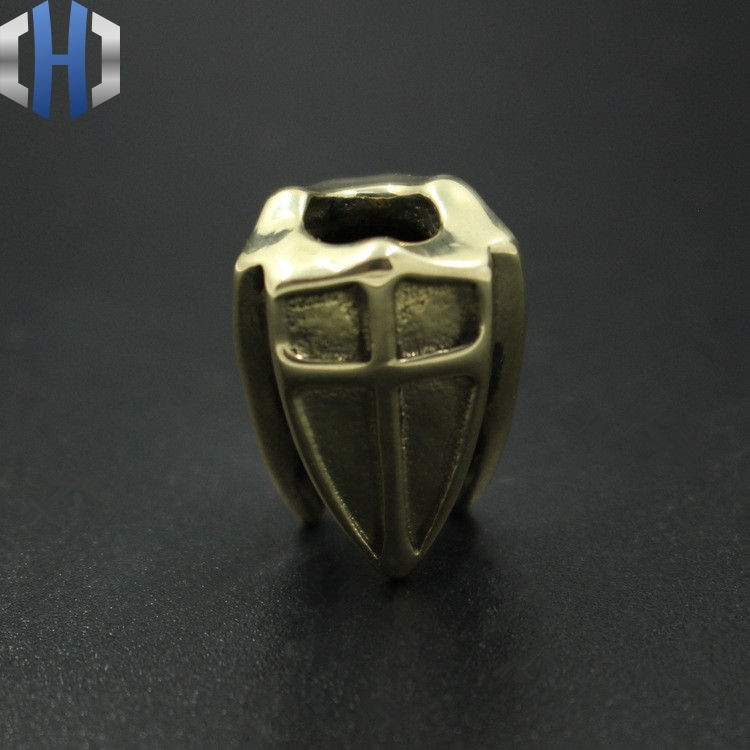 Brass Cross Shield Knife Umbrella Rope Pendant Beads Three Links EDC Accessories Pendants