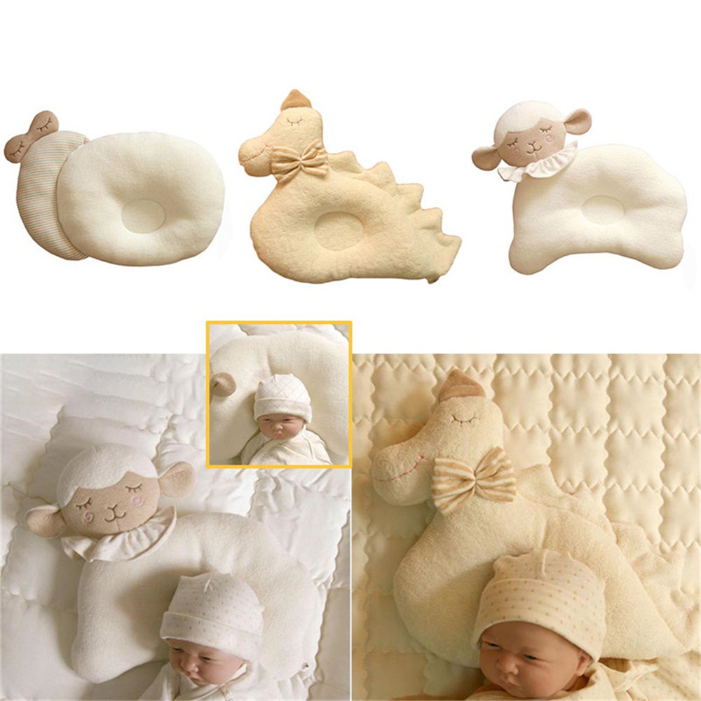 Cute Baby Pillow Flat Head Animals Shap Infant Pillows