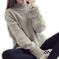 Turtleneck sweater women winter 2017 new loose pullover sweater spring female outerwear khaki dark grey green