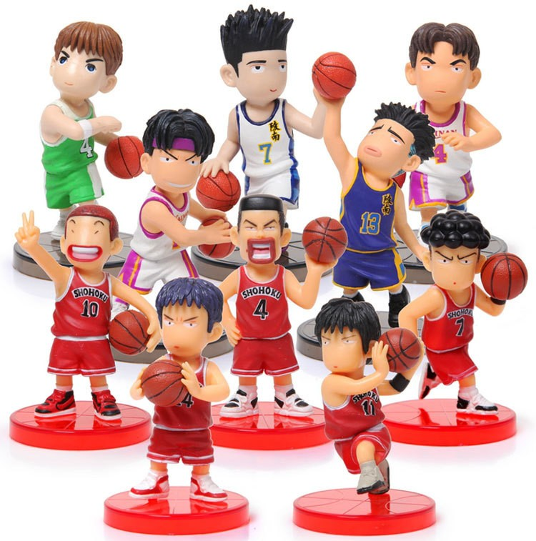 Free Shipping Japanese Anime <font><b>Slam</b></font> <font><b>Dunk</b></font> PVC <font><b>Action</b></font> <font><b>Figures</b></font> <font><b>Dolls</b></font> Boys <font><b>Toys</b></font> <font><b>Doll</b></font> Kids gift 10pcs/set