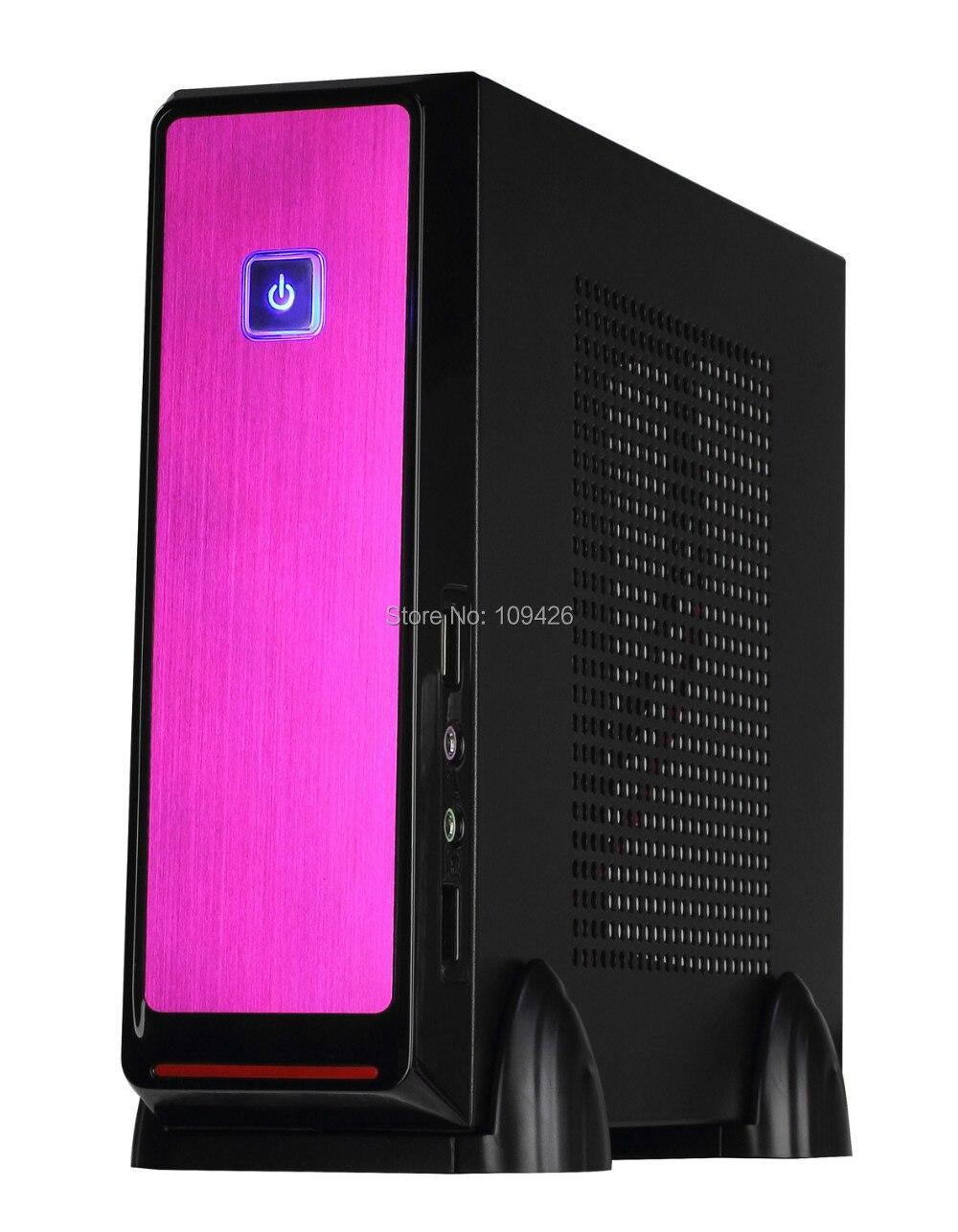 REALAN High Quality Mini ITX Desktop Computer E-2019 with Power Supply (SGCC 0.8mm, 2.5HDD, black silver pink)