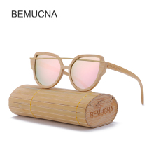 2017 New BEMUCNA Polarized Wood Sunglasses Women Cat Eye Fashion  Sun glasses  handmade exquisite wooden Sunglasses Oculos