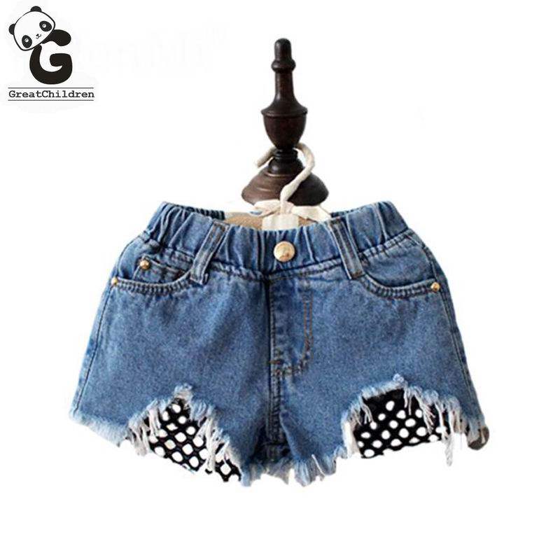 Girls Jeans Holes Ripped Shorts Jeans For Girls Kids Clothes Girl 8 Years Children Denim Pants Casual Elasticity Lace Pants italian style fashion men s jeans shorts high quality vintage retro designer classical short ripped jeans brand denim shorts men