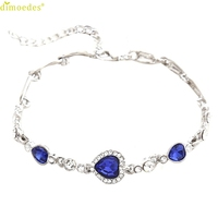Diomedes Newest Women Trendy Jewelry Foot Ocean Blue Crystal Rhinestone Heart Shape Anklet Diomedes Attractive Jewelry Anklet