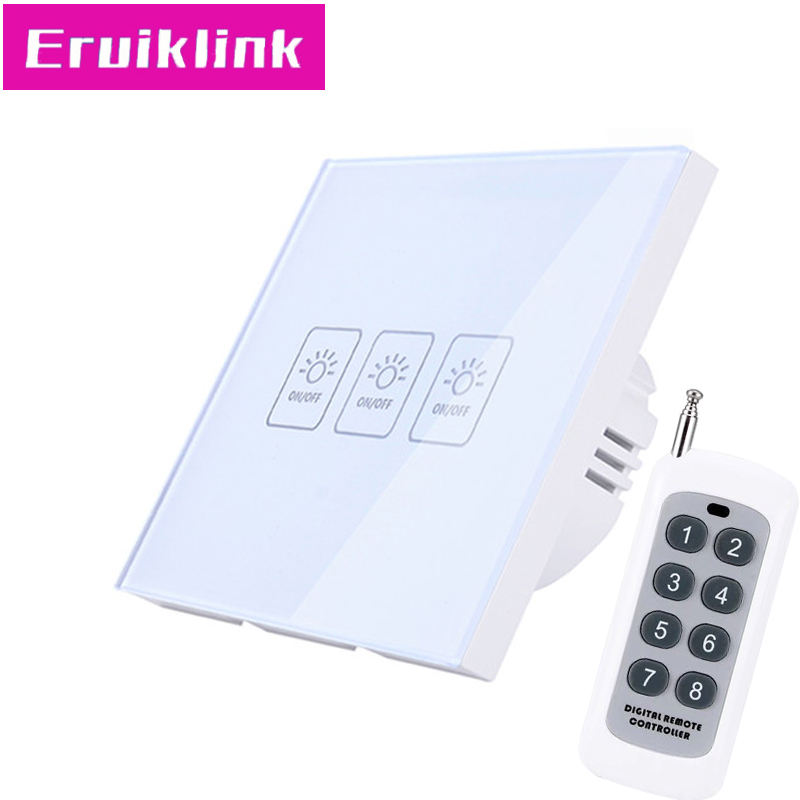 EU/UK Standard Wireless Remote Control Touch Switch,3 Gang 1 Way <font><b>RF433</b></font> <font><b>Wall</b></font> Light Switch For Smart House Free shipping image
