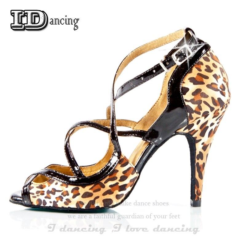 Leopard Latin Dance Shoes Ballroom Ladies Shoes Women Shoes Salsa Dance Shoes Comfortable Cheap Price JuseDanc