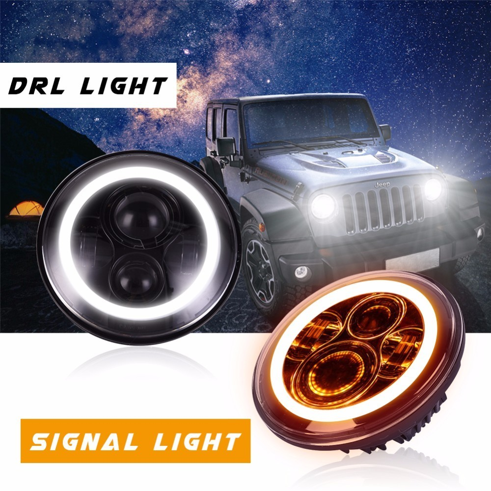 GERUITE 7 Inch Led Headlight H4 H13 Round Shape 7'' Headlights With Yellow & Amber Angel Eyes for Offroad Jeep Wrangler Bike 2pcs 2017 new design 7 inch 40w motorcycle led auto angel eyes led headlight bulb with high quality