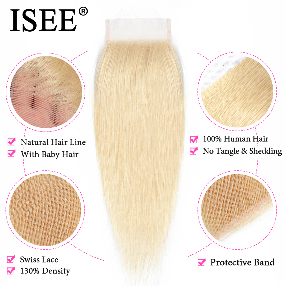 Image 3 - ISEE HAIR Straight 613 Bundles With Closure 3 Bundles Brazilian Hair Weave Bundles Virgin Human Hair Blonde Bundles With Closure-in 3/4 Bundles with Closure from Hair Extensions & Wigs