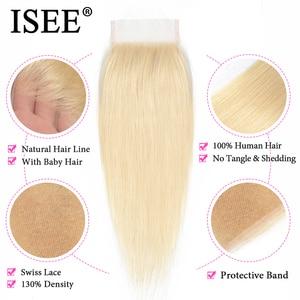 Image 3 - ISEE HAIR Straight 613 Bundles With Closure 3 Bundles Brazilian Hair Weave Bundles Virgin Human Hair Blonde Bundles With Closure