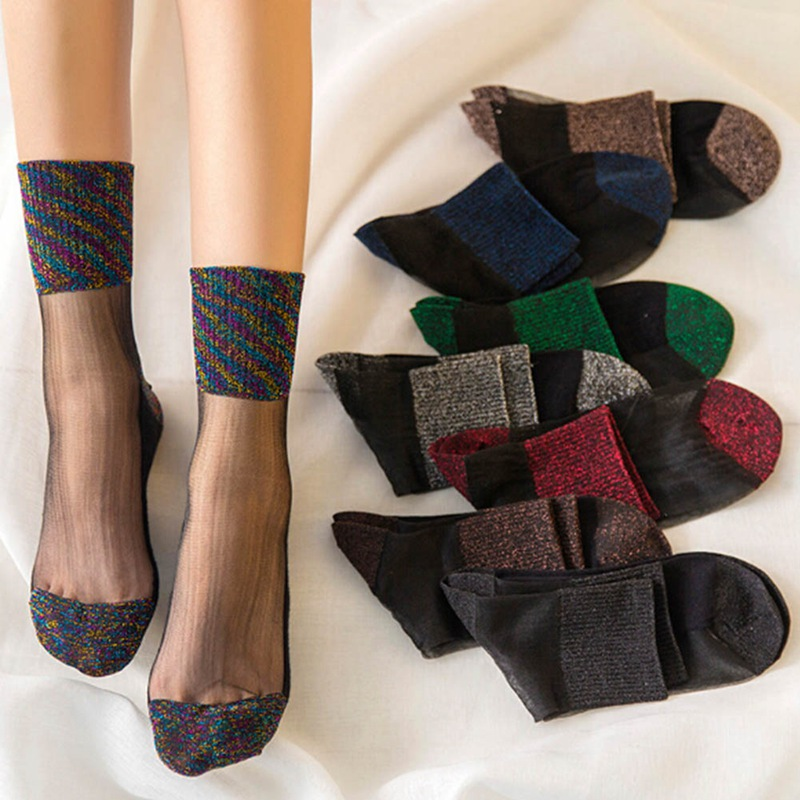Сексуальные кружевные сетчатые носки, ультратонкие прозрачные шелковые короткие хлопковые носки с кристаллами для женщин и девочек, эласт...