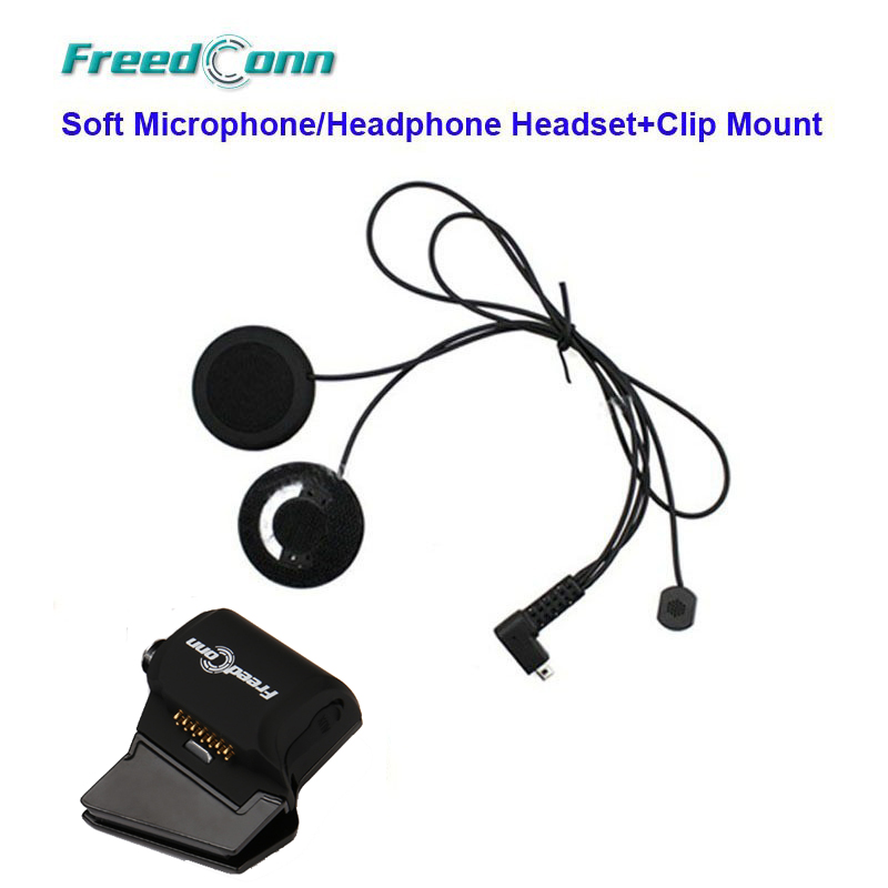 FreeConn T-Rex Soft Wire Microphone & Speaker + Universal Clamp Mount For T-Rex Motorcycle Bluetooth Helmet Interphone Headset