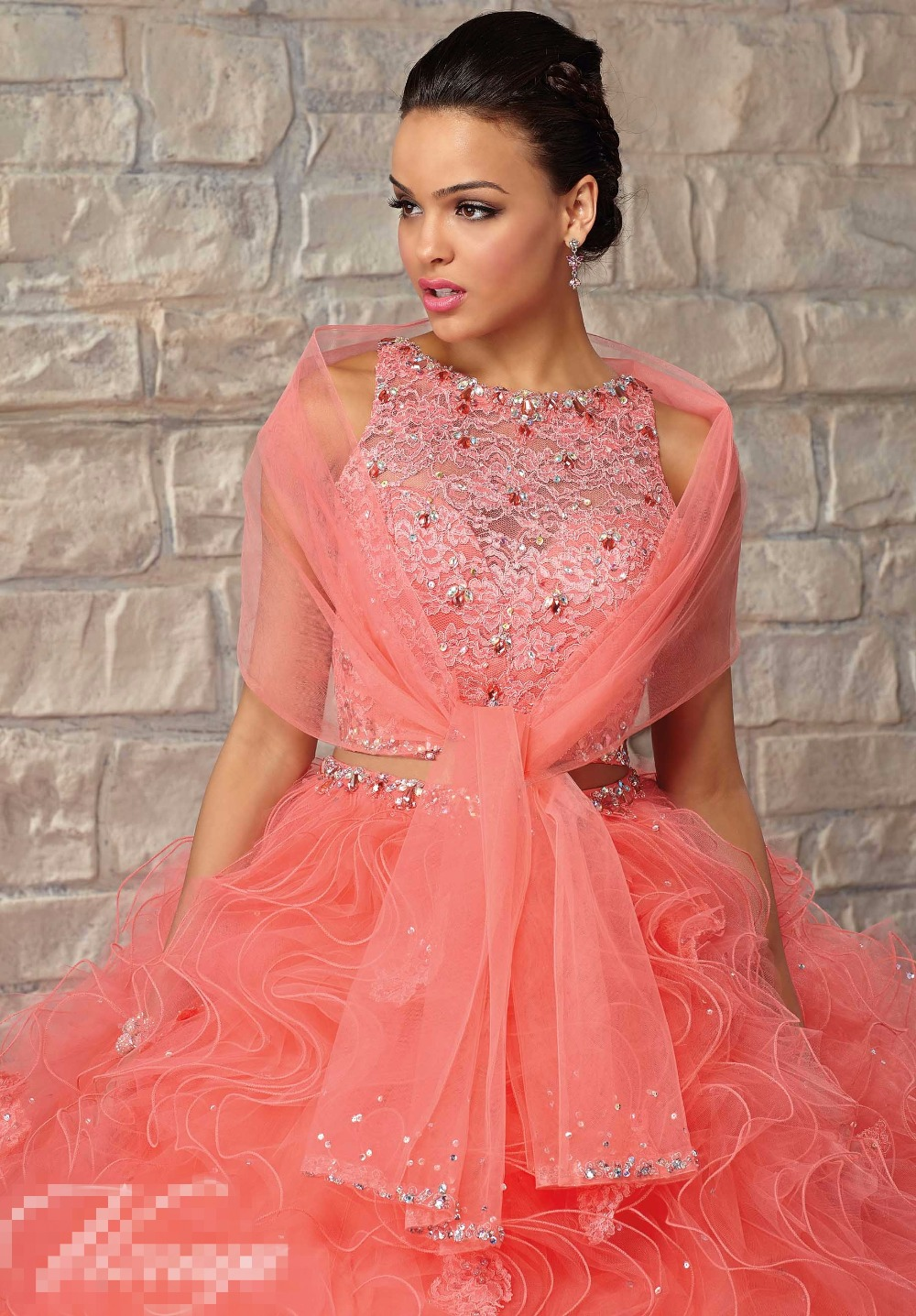 Coral 2 Two Pieces Quinceanera Dresses 2016 Ruffles Organza With ...