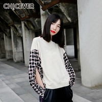 CHICEVER Korean Plaid Patchwork Sweatshirt Women O Neck Long Sleeve Hollow Out Loose 2019 Autumn Clothing Female Fashion New
