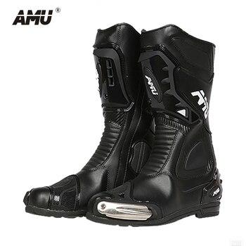 9a6b5c775f AMU Motocicleta Botas Botas De Moto de Motocross Moto Equitação À Prova D'  Água Dos Homens De Couro Botas de Motociclista Botas Moto Sapatos  Motocicleta