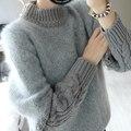 Inverno Grosso e Macio Trançado Mulheres Cozy Vestido Casaco De Pelúcia Mohair O-pescoço Pulôver Feminino Camisa