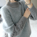Winter Thick and Soft Braided Cozy Women O-neck Pullover Sweater Female Dress Coat Plush Mohair Jersey