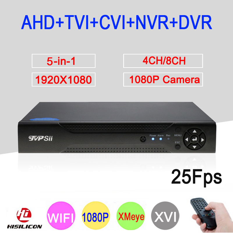 XMeye APP 4CH/8CH 1080P 2MP Full HD 25FPS Real-time Hybrid Onvif Coaxial WIFI 5 in 1 TVI CVI NVR AHD CCTV DVR Free Shipping silver panel hi3521a 5 in 1 xmeye 4 channel 4ch 1080p 2mp 25fps realtime hybrid coaxial nvr tvi cvi ahd cctv dvr free shipping