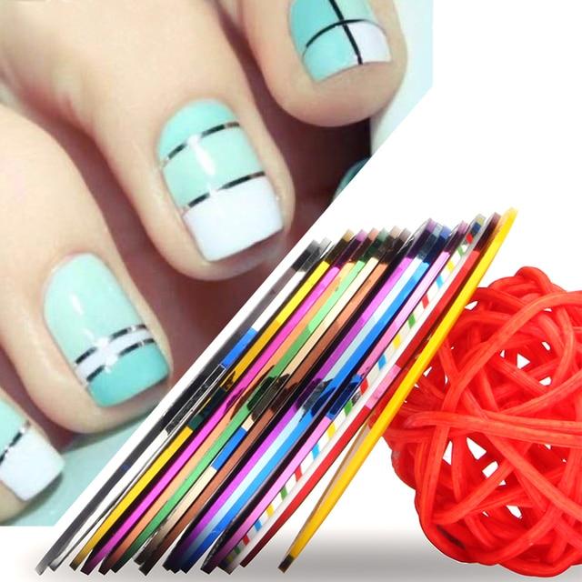 16 Spools Mixed Colors Rolls Vinyl Nail Art Stickers Diy Nail