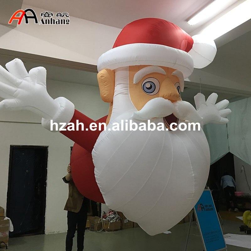 Hanging Decorative Inflatable Xmas Santa Head For Christmas