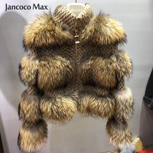 New Arrival Women Real Raccoon Fur Jacket Top Quality Winter Thick Warm Natural Coat S7458