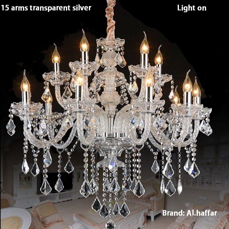De luxe top k9 cristal de mode champagne or/transparent bougie pendentif en cristal lampe en cristal de lumière lampe en cristal de luxe