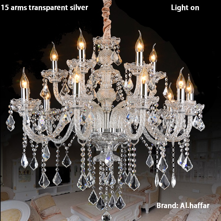 Luxury top k9 crystal fashion champagne gold/transparent clear candle crystal pendant light crystal lamp luxury crystal lamp selenga hd80 2001