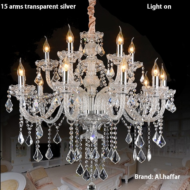 Luxury top k9 crystal fashion champagne gold/transparent clear candle crystal pendant light crystal lamp luxury crystal lamp