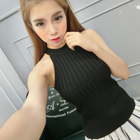 Summer Women Slim Knitting Halter Tank Tops Female Bodycon Knitted Camis Sleeveless Solid T shirts 3610