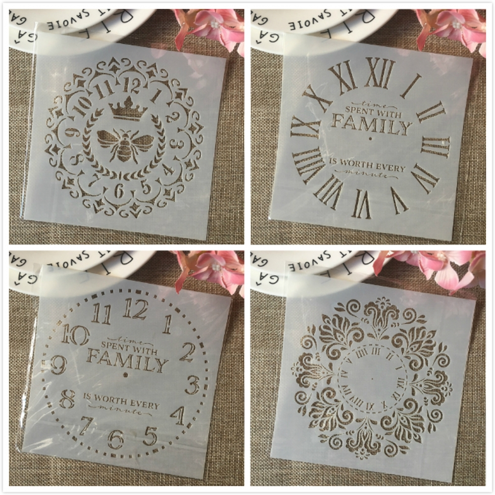 4Pcs 6*6inch Clock Bee Family Dial DIY Layering Stencils Painting Scrapbook Coloring Embossing Album Decorative Card Template