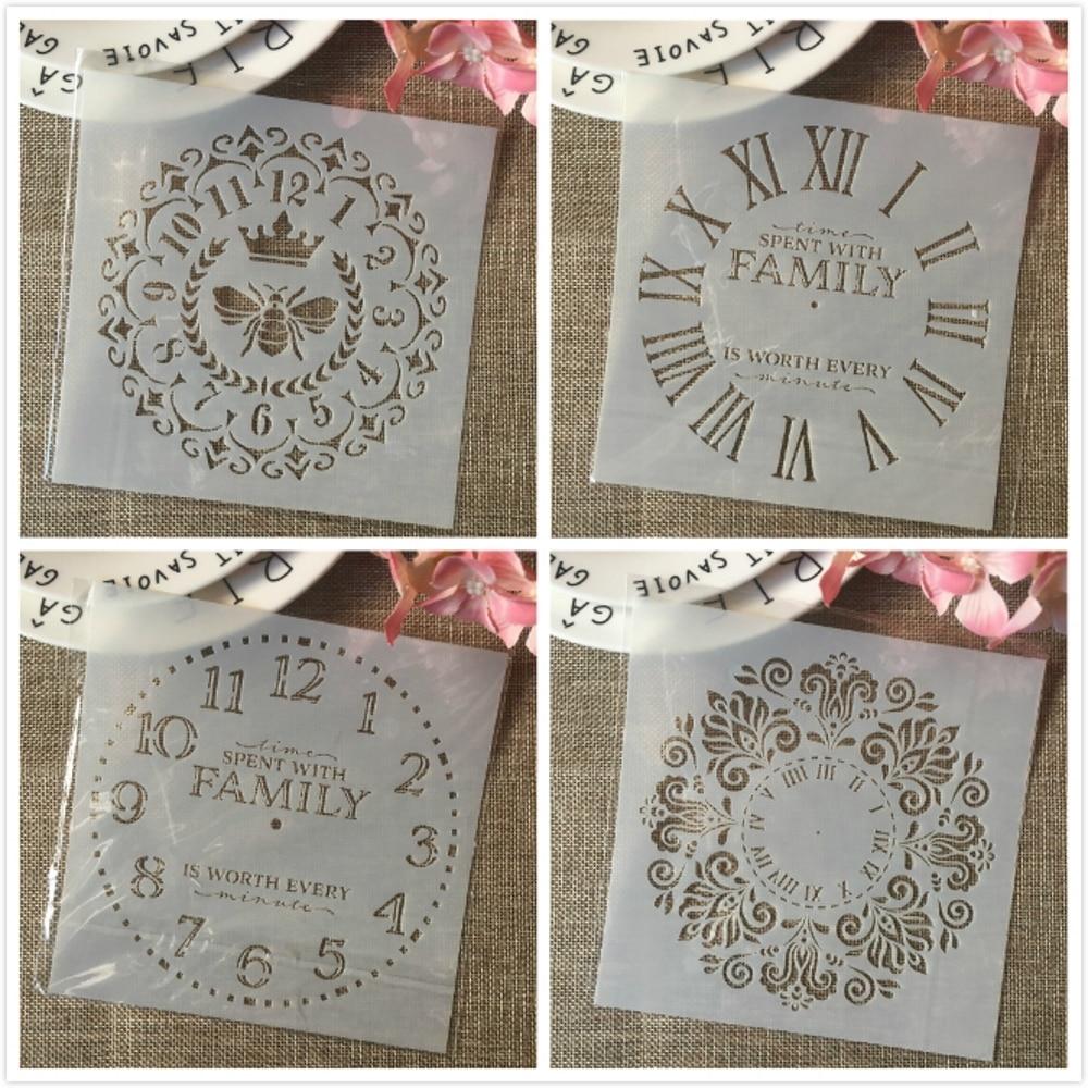 4Pcs 6*6inch Clock Bee Family Dial DIY Layering Stencils Painting Scrapbook Coloring Embossing Album Decorative Card Template