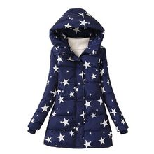 NEW Women Fashion Coat Lady Hooded Jacket With Star Print Regular Length Thick Warm Winter Outfit