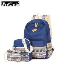 Westcreek брендовый комплект рюкзак для ноутбука Для женщин BAGPACK холст геометрический сумка рюкзак ранцы для подростка Обувь для девочек спортивные