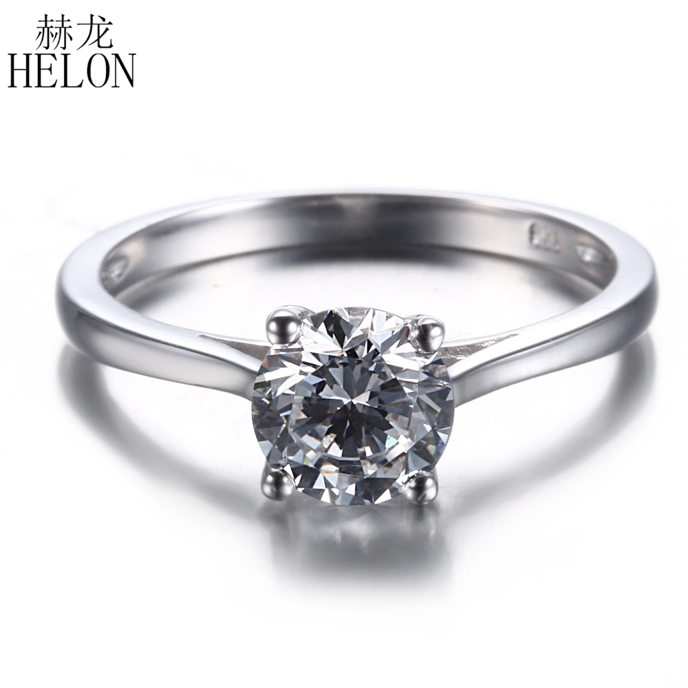 HELON 1ct Moissanite Ring Solid 14k (AU585) White Gold Lab Grown Moissanite Diamond Wedding Ring For Women Trendy Fine Jewelry transgems 1ct carat lab grown moissanite diamond jewelry wedding anniversary band solid white gold engagement ring for women