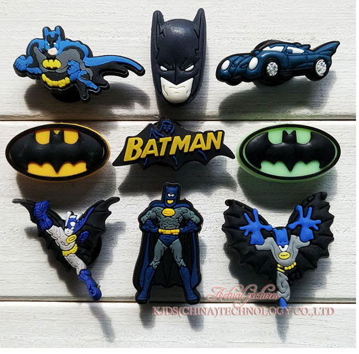 MIX STYLES 9PCS BATMAN PVC Shoe Charms Shoe Accessories Shoe Buckle For Wristbands Croc Kids Favor Gift