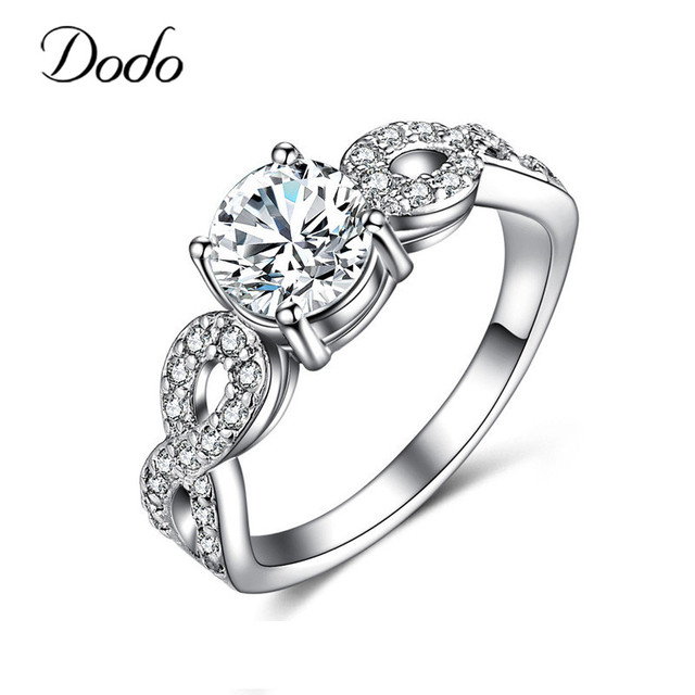 Fashion Wedding Rings For Women 585 White Gold Color Intertwined Fate Love Jewelry Ring Vintage Bague Female bijoux Gifts DR99