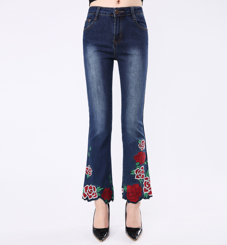 KSTUN FERZIGE Woman Jeans Boot Cut Embroidered High Stretch Womens Flared Pants Ladies Flowers Embroidery Blue Jeans Mujer Femme Jeans 13