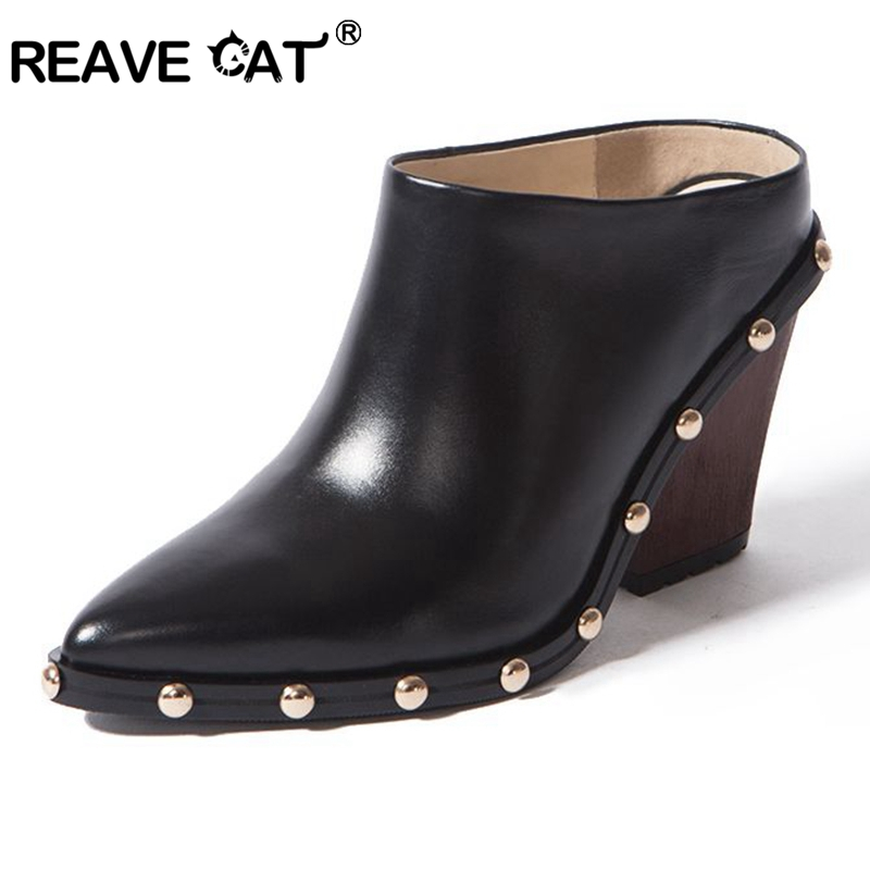 REAVE CAT Spring Summer Slides Mules Women Slippers Mid Spool High heel Cow leather Pointed toe