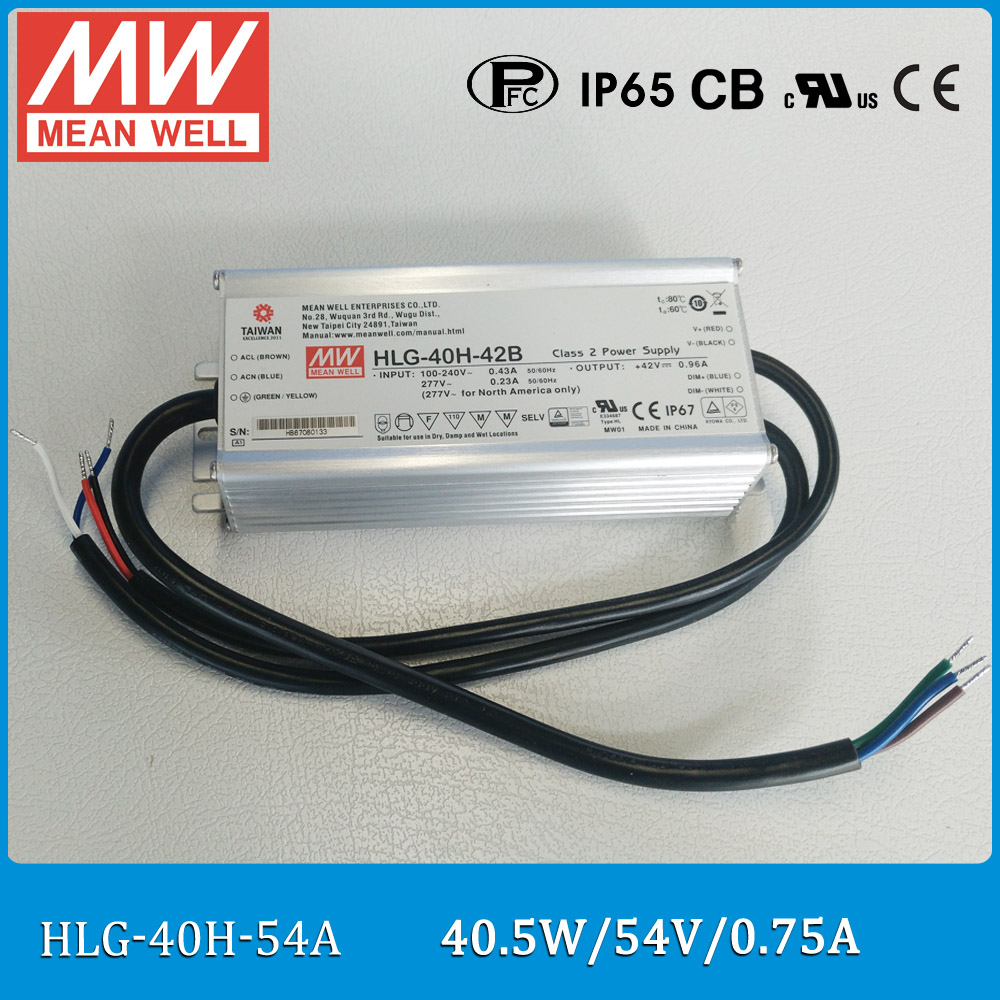 Original Meanwell HLG-40H-54A 40W 0.75A 54V waterproof LED Power Supply output adjustable IP65 CV+CC A type LED driverOriginal Meanwell HLG-40H-54A 40W 0.75A 54V waterproof LED Power Supply output adjustable IP65 CV+CC A type LED driver